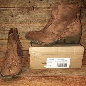 Brown suede cowboy booties